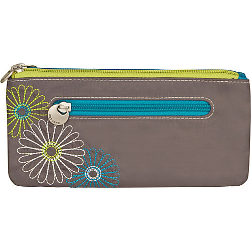 Travelon Safe ID Daisy Double Zip Clutch Wallet