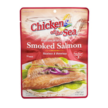 (2 Pack) Chicken of The Sea Wild Skinless Boneless Smoked Salmon, 3 oz Pouch Alder Wood Smoked Salmon