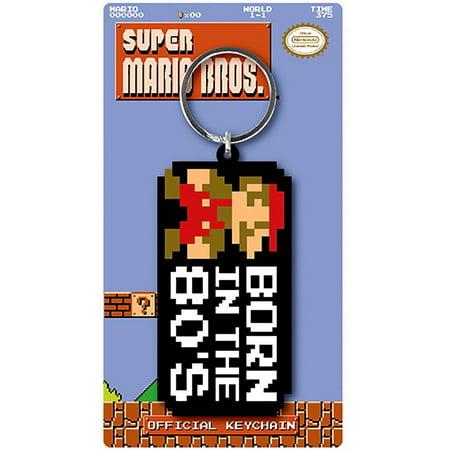 Super Mario Bros Born In The 80s Rubber Keychain Super Mario Bros Keychain Measures