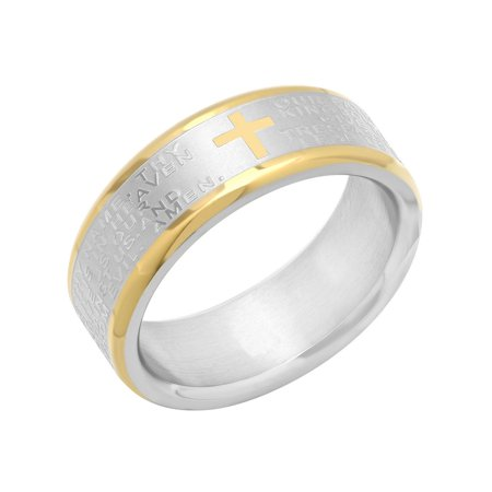 Men's Stainless Steel Two-Tone 7MM Lord's Prayer Wedding Band - Mens Ring Design Stainless Steel Band