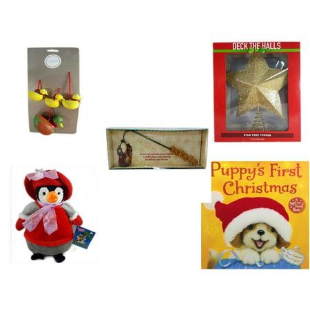 Christmas Fun Gift Bundle [5 Piece] - Martha Stewart Woodland  Set of 4 Duck Ornaments - Deck The Halls Gold Star Tree Topper 11.5