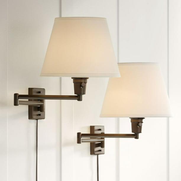 360 Lighting Industrial Swing Arm Wall Lamps Set Of 2 Oil Rubbed Bronze Plug In Light Fixture White Linen Shade Bedroom Bedside Walmart Com Walmart Com