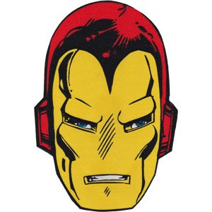 "IRON MAN HEAD, Officially Licensed, Iron-On / Sew-On, 6.8"" x 10"" Embroidered PATCH"
