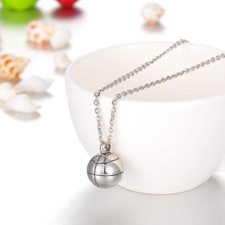 Silver Basketball Cremation Jewelry Keepsake Memorial Urn Necklace Ash Holder