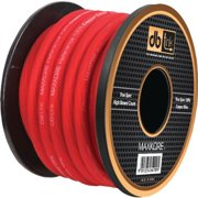 DB Link MKPW4R100 Maxkore 100 Percent OFC Copper Soft-Touch Power and Ground Wire, 4-Gauge, 100', Red Power