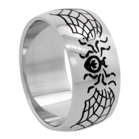 Surgical Steel Spider & Web Ring Domed 10mm Wedding Band, sizes 8 - - Spider Rings