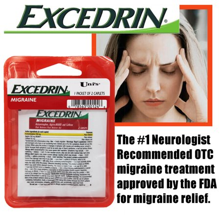 Uni's Excedrin Migraine 6 Count of Single Dose Relief 2 Caplet per packet. Relief of pain from conditions such as muscle aches, toothaches, menstrual cramps, or headaches (including (Best Treatment For Menstrual Migraines)