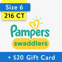 Deals on 216-Ct Pampers Swaddlers Diapers Size 6 + $25 Walmart GC