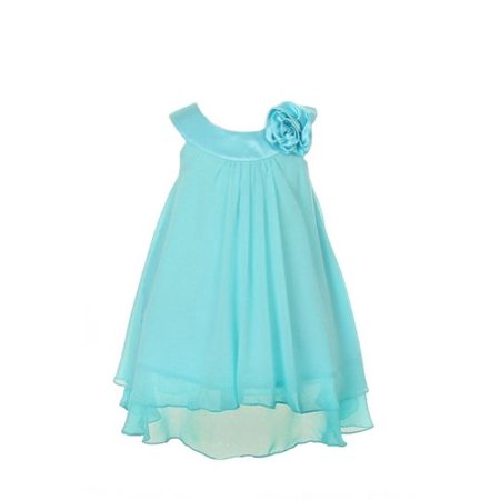 Satin Bib Neckline & Chiffon A-line Big Girls Flower Girl Dress (Chiffon Satin Wedding Dress)