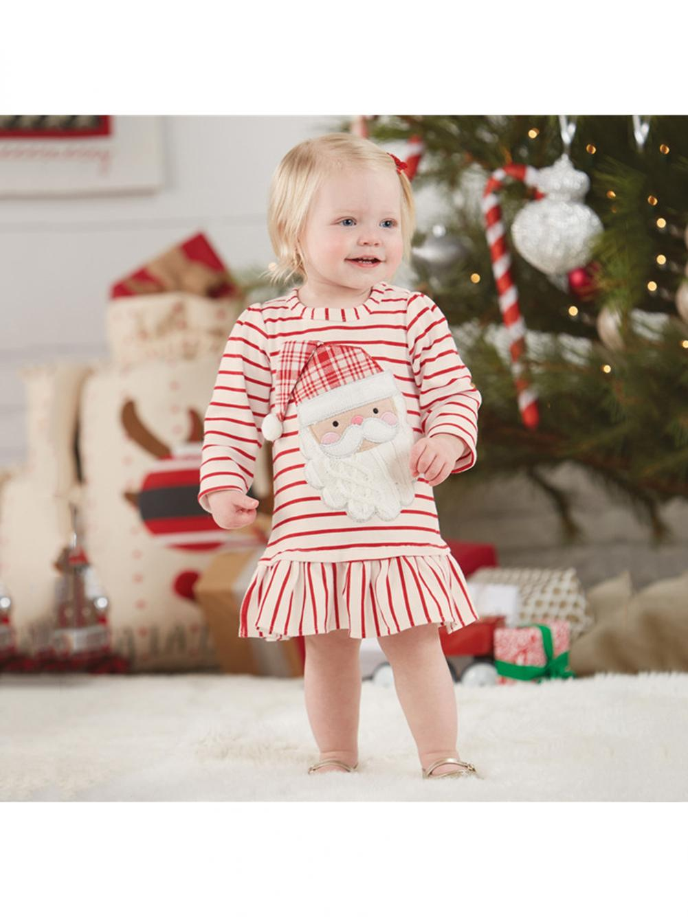 9f6c6110f5a0 Christmas Party Baby Girls Long Sleeve Cute Santa Claus Striped ...