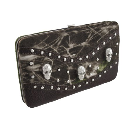 Zeckos - Forest Camouflage Flat Wallet with Skulls and Studs - Brown