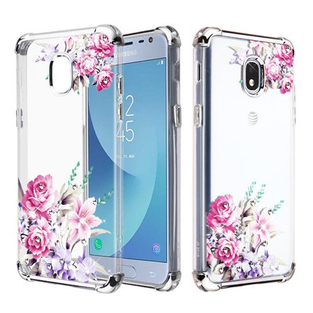 Clear Pink Case - Samsung Galaxy J3 2018,Express Prime 3,J3 Achieve, J3 V,J3 Star Phone Case Hybrid Shockproof Armor Silicone Rubber Rugged Protective TPU Slim Cover Clear Pink Flower Case for Samsung Galaxy J3 2018