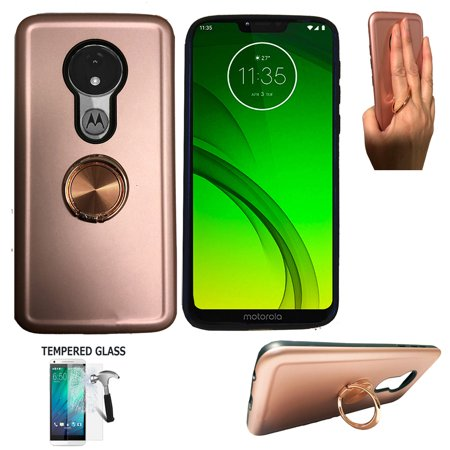 For Straight Talk Moto G7 Optimo Case / Motorola G7 Play Phone Case (Not for G7 Power/ G7 / G7 Plus) Tempered Glass with shock absorbing Chrome Ring Cover Stand (Ring Rose Gold +Tempered Glass)