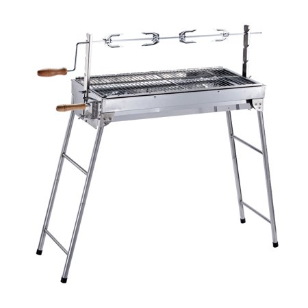 ALEKO Lightweight Portable Foldable Stainless Steel Charcoal Barbecue Grill with Roasting Bar