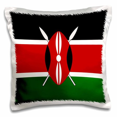 3dRose Flag of Kenya - Kenyan black red green with Maasai African warrior shield spears - East Africa world - Pillow Case, 16 by