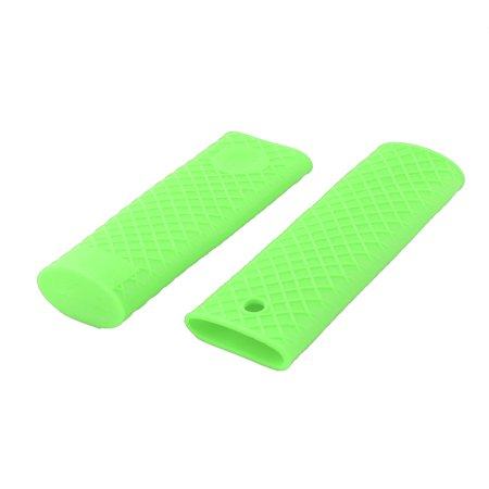 Home Silicone Heat Resistant Pot Pan Stockpot Handle Sleeve Cover Green 2pcs Teflon Handle Cover