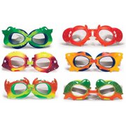 Poolmaster Animal Frame Childrens Swimming Pool Water Goggles - 6 Pack (For Kids Ages 3 & Up)