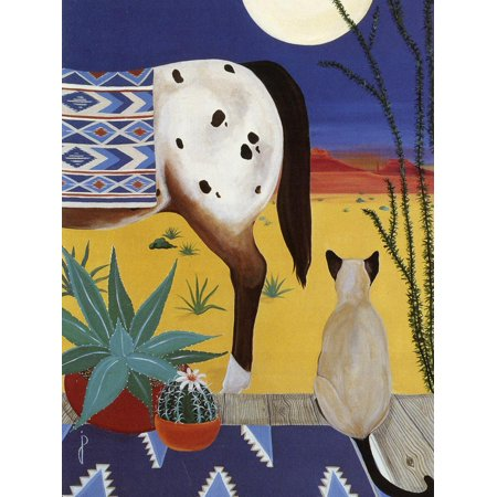 Southwest Inlay - Thoughts on a Desert Moon Southwest Southwestern Style Cat and Horse Painting Print Wall Art By Jan Panico