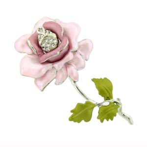 Platinum-Plated Swarovski Crystal Pink Enamel Rose Pin  Brooch (1 1 2 inches x 2 1 4 inches) (Gift Boxed) by