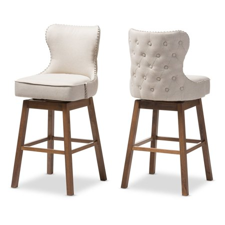Baxton Studio Gradisca Modern and Contemporary Brown Wood Finishing and Light Beige Fabric Button-Tufted Upholstered Swivel Barstools, Set of 2