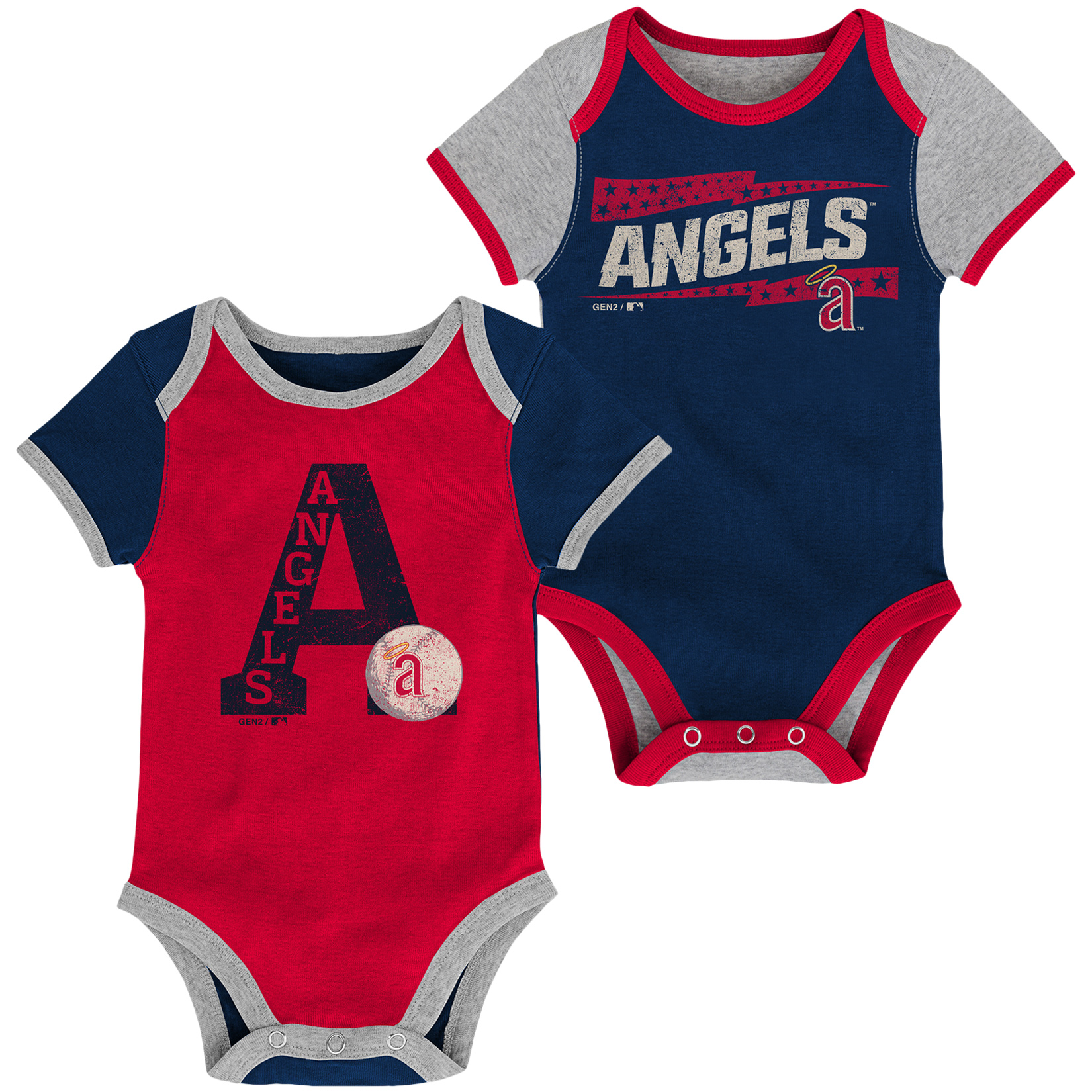 Los Angeles Angels Infant Baseball Star Two-Pack Bodysuit Set - Navy/Red