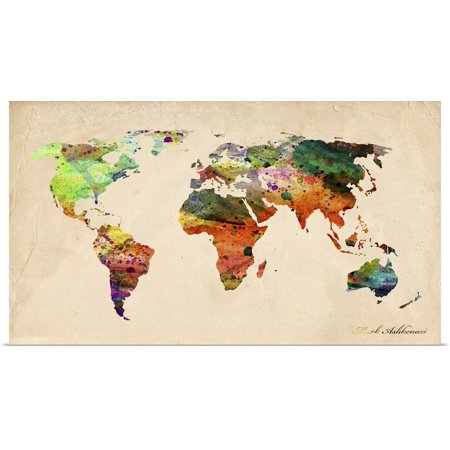 Watercolor Map Of The World (Great BIG Canvas   Rolled Mark Ashkenazi Poster Print entitled Watercolor Map Of The)