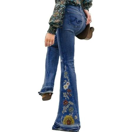 Vintage Plus Size Ladies Denim Jean Women Juniors 70s Trendy Slim Fit High Waist Flared Bell Bottom Denim Jeans Pants Ladies Floral Embroidery Wide Leg Denim Pants Belted Flared Pants