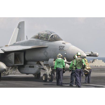 An F 18F Super Hornet Is Guided Into Catapult Aboard Uss George Hw Bush Canvas Art   Giovanni Collastocktrek Images  35 X 23