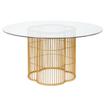 - Safavieh  Couture High Line Collection Noore Gold Leaf Glass Dining Table