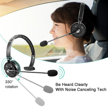 Mic Call Center - LUXMO Trucker Bluetooth Headset, Wireless Headphone Over The Head Office Headset with Boom Microphone, Rechargeable Noise Cancelling Wireless Headphone for iPhone Android, Truck Driver, Call Center