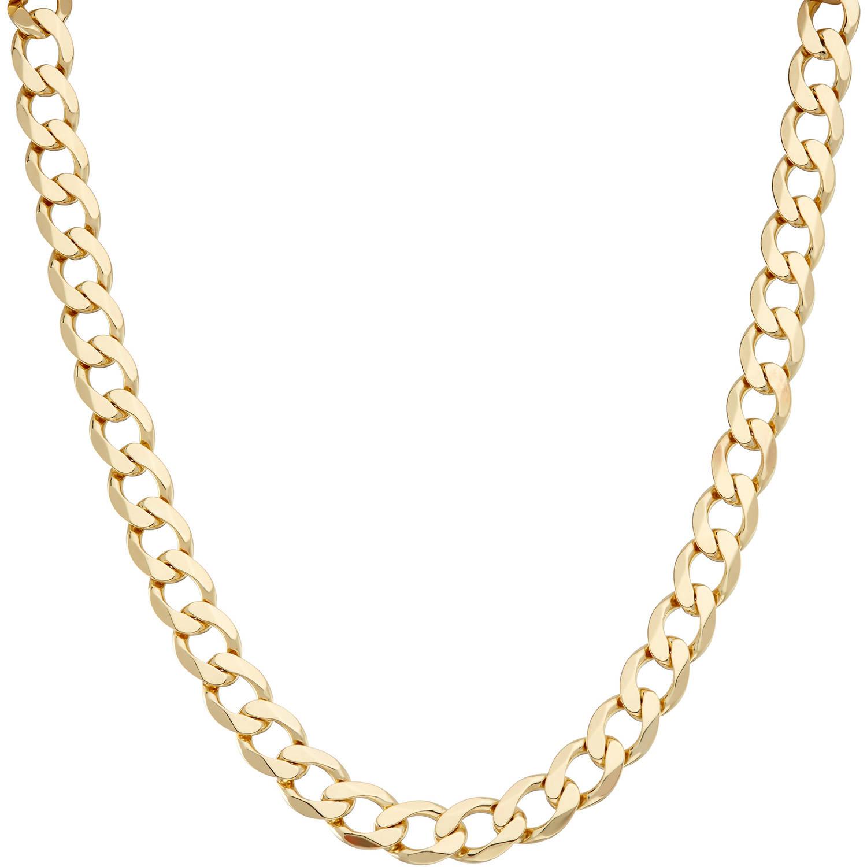 "Men's 18kt Gold over Sterling Silver 9.6mm Curb Necklace, 20"""