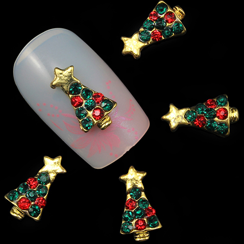 10 Pcs 3D Christmas Tree Shape Alloy Nail Art Sticker Decoration Charms Studs