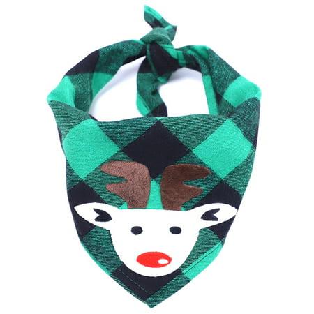 Dog Bibs for Christmas Scarf Pet Polyester Plaid Elk Printed Handkerchiefs