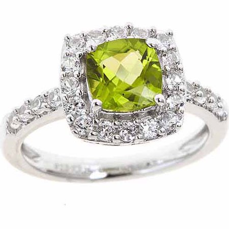 Peridot and Created White Sapphire Sterling Silver