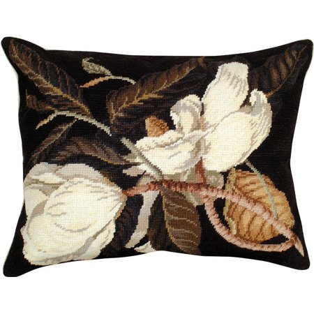 Magnolia Needlepoint Pillow (Throw Pillow Needlepoint Magnolia 16x20 Wool Polly Insert Cotton Velvet B MH-392 )