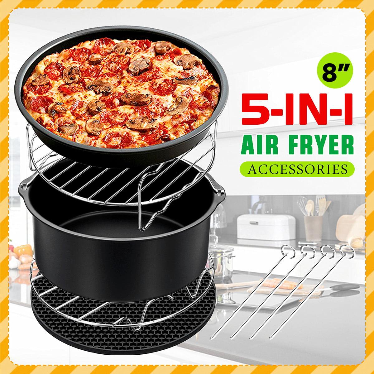 8'' Air Fryer Accessories Set Chips 5 IN 1 Baking Basket Rack For Phillips 4.2QT-6.8QT