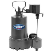 Superior Pump 92341 1/3 HP Cast Iron Sump Pump Side Discharge with Vertical
