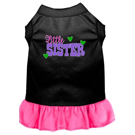Little Sister Screen Print Dog Dress Black with Bright Pink (Mirage Dress)