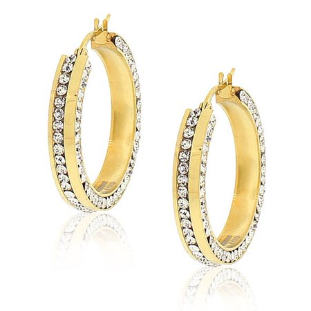 EDFORCE Stainless Steel Yellow Gold-Tone White CZ Classic Hoop Earrings 1.0