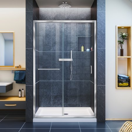 DreamLine Infinity-Z 44-48 in. W x 72 in. H Semi-Frameless Sliding Shower Door, Clear Glass in Chrome ()