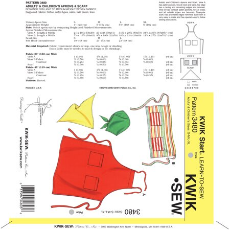 Kwik Sew Pattern Aprons and Scarf, (S, M, L, XL) for $<!---->