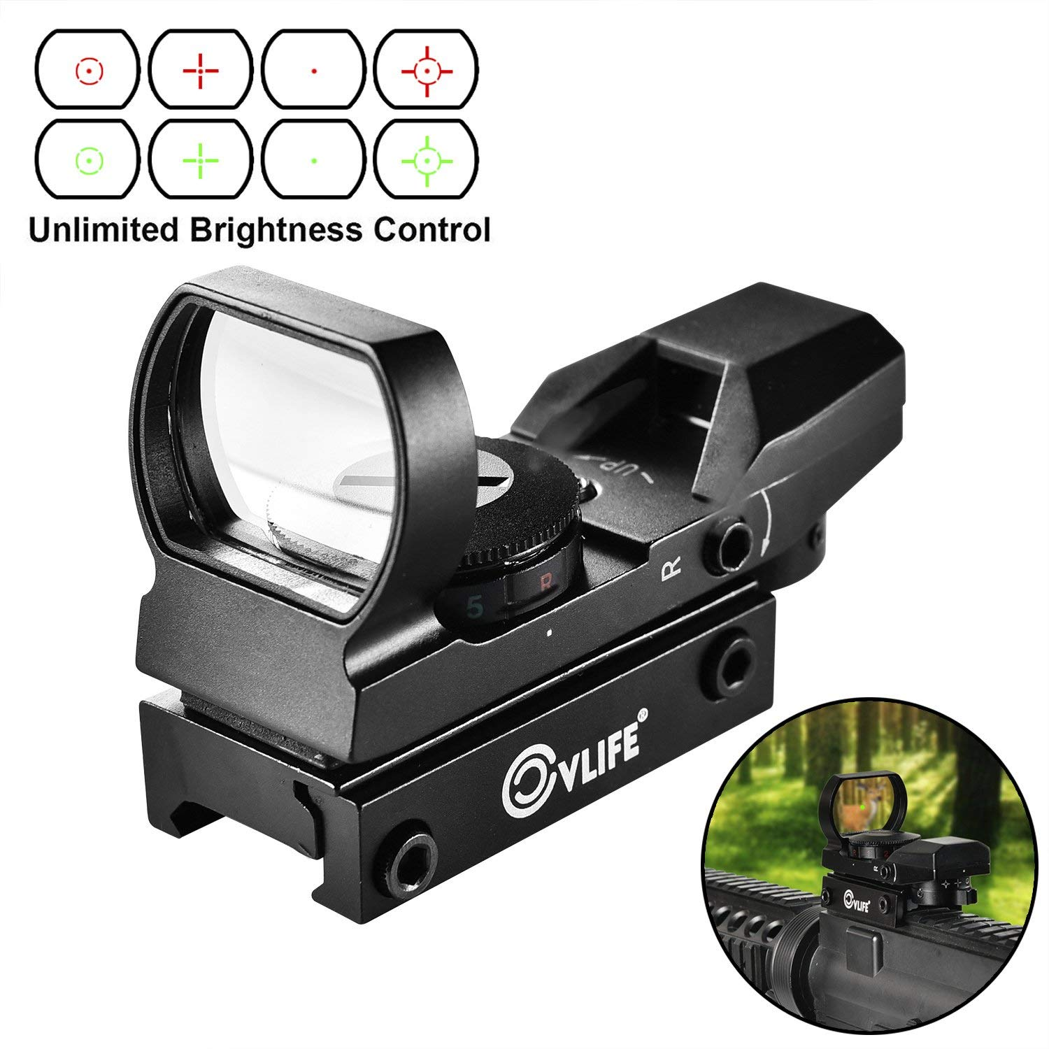 CVLIFE  Red Green Dot Gun Sight Scope Reflex Sight with 20mm Rail