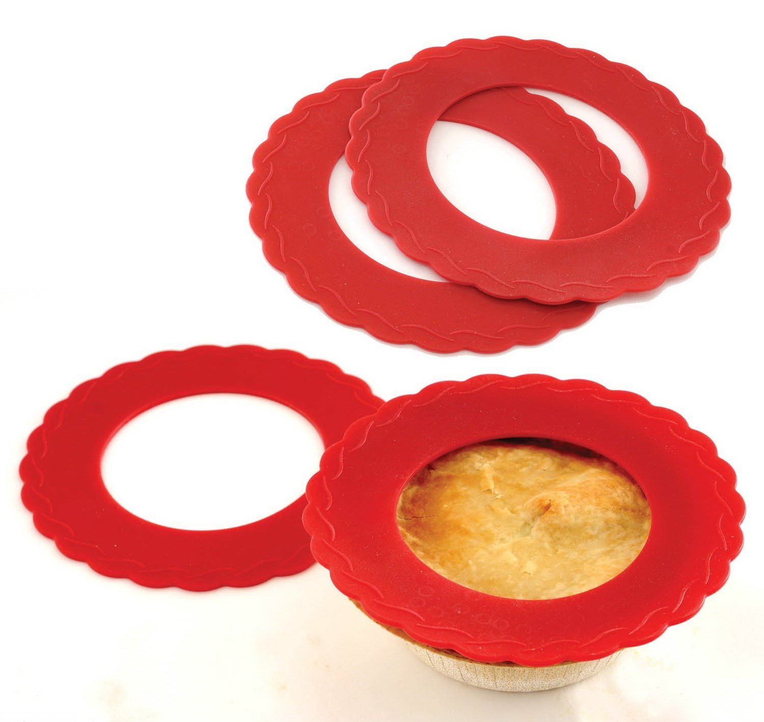 """4 Set Mini Silicone Pie Pan Shields Red 5"""" 6"""" Pies Protects Crust, 4 Set of Silicone Mini Pie Pan... by"""
