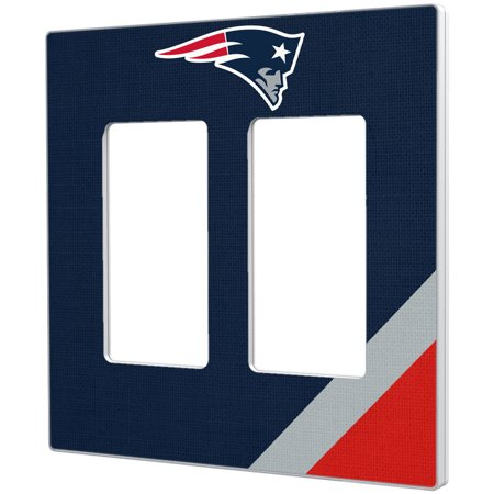 New England Patriots Diagonal Stripe Double Rocker Light Switch Plate - No Size - New England Glider