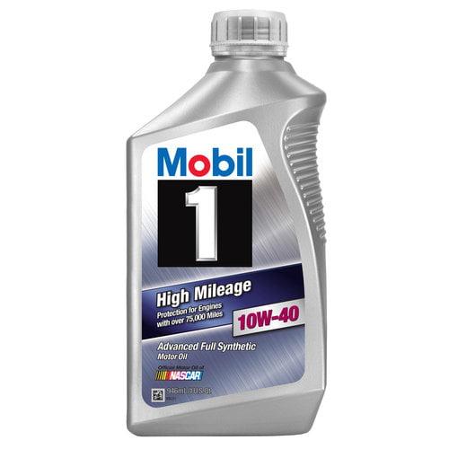 Mobil 1 10W-40 High Mileage Motor Oil, 1 qt.