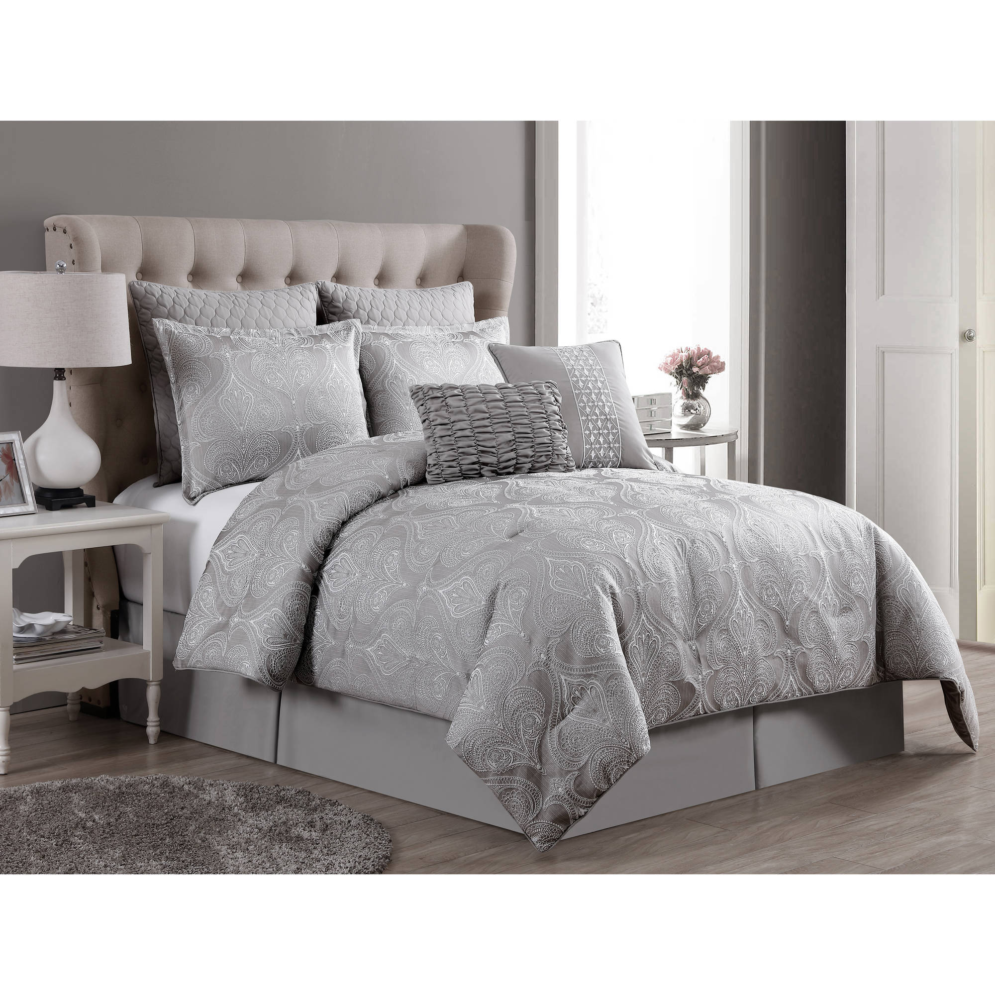 VCNY Rennes 8-Piece Two-Tone Embroidered Bedding Comforter Set, Euro Shams Included