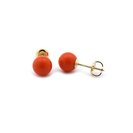 14k Yellow or White Gold Light Red Simulated Coral Ball Stud Earrings with Screwbacks