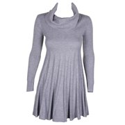 Calvin Klein Grey Long-Sleeve Turtleneck Metallic Fit & Flare Sweater Dress PS