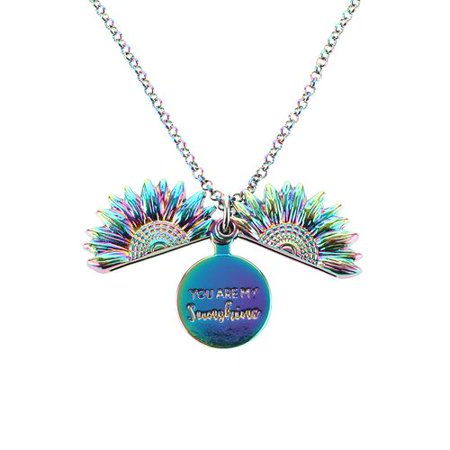 AkoaDa 1 Pcs You are My Sunshine Necklace Engraved Inspirational Colorful Sunflower Necklaces Memorial Locket Pendant for Women Girl Wife Mother Daughter Girlfriend Christmas New Year Birthday Gifts ()