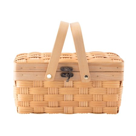 Small Woodchip Picnic Basket with Cover and Folding Handles Gourmet Picnic Basket